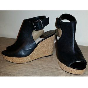 Vince Camuto Tundra Cork Wedge Sandals leather 6.5